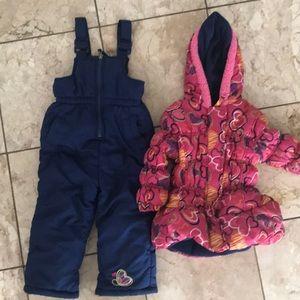 Pink Platinum Ski Bib and Jacket Set Size 2T
